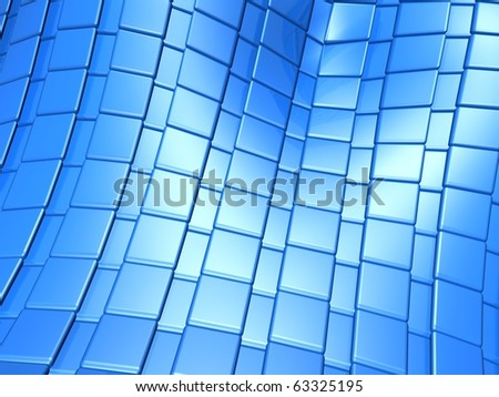 Abstract blue metallic square pattern 3d illustration