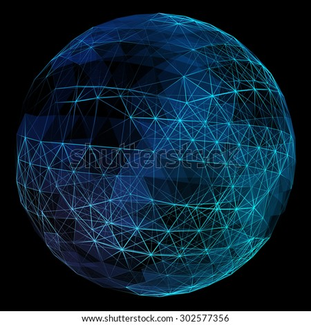 Abstract blue network globe. Technology concept of global communication. - stock photo