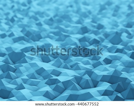 Abstract blue polygonal 3D surface background with shallow depth of field. Rendered abstract 3D illustration. - stock photo