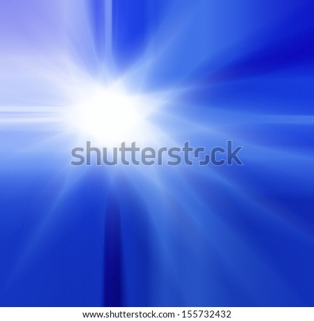 abstract blue sky background with white shining star or sunburst design layout, sunny zoomed out blur for website or brochure design templates