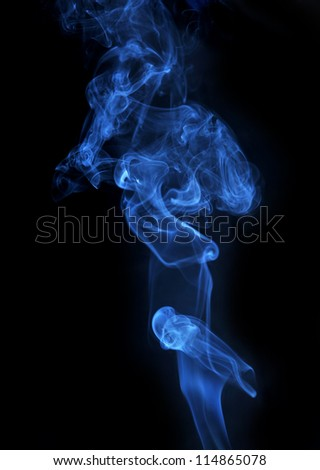 Abstract blue smoke isolated on black