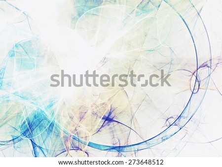 Abstract blue smoke motion on white. Modern bright futuristic dynamic background for wallpaper, flyer cover, poster, banner, booklet. Fractal art for creative graphic design - stock photo