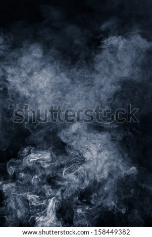 Abstract blue smoke on black background - stock photo