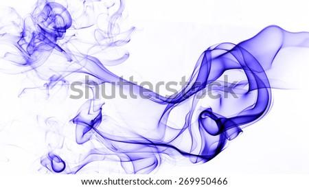 Abstract blue smoke on white background. - stock photo