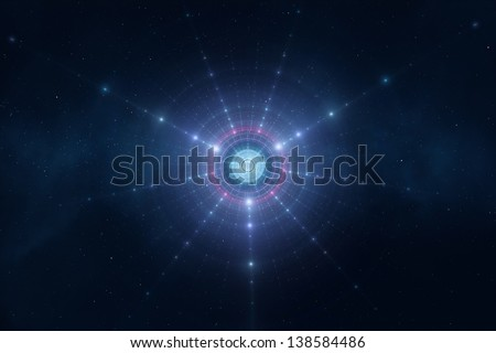Abstract blue space stars futuristic new age background - stock photo