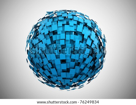 Abstract blue sphere - stock photo