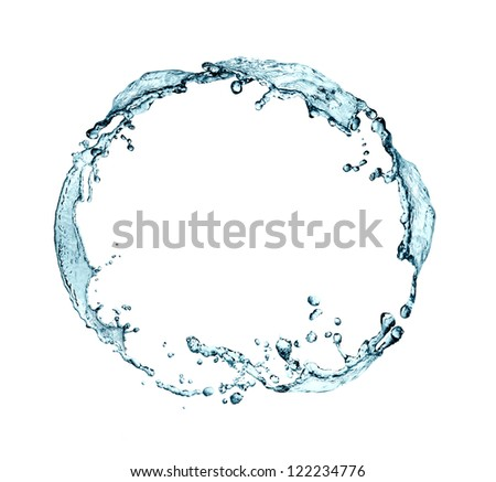 Abstract blue splashing water as ring on white background - stock photo