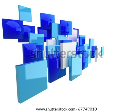 abstract blue square geometry forming the flow isolated on white background - stock photo