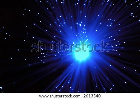 Abstract blue starfield background - stock photo