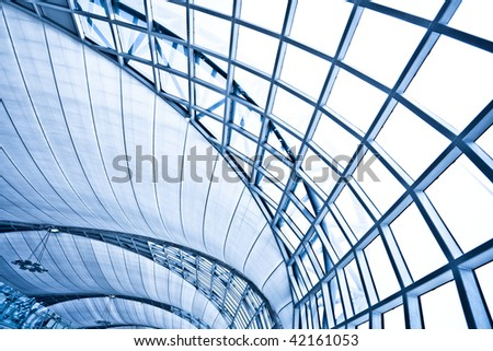 Abstract blue wall interior background, horizontal right composition - stock photo