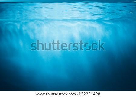 Abstract blue water background with sunbeams