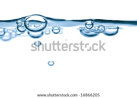 abstract blue water bubbles background - stock photo