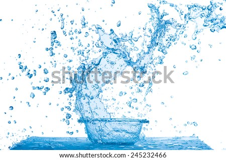 Abstract blue water splash with drops isolated on white background, freezing motion. - stock photo
