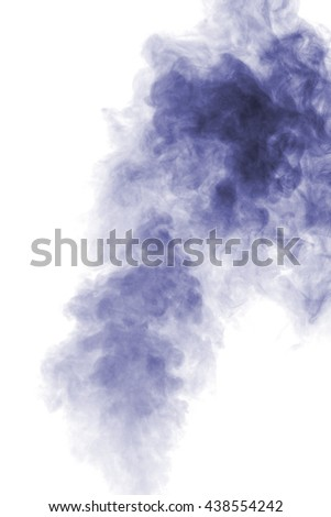 Abstract blue water vapor on a white background. Texture. Design elements. Abstract art. Steam the humidifier. Macro shot.