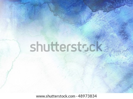 abstract blue watercolor background.  Artwork is created and painted by myself. - stock photo