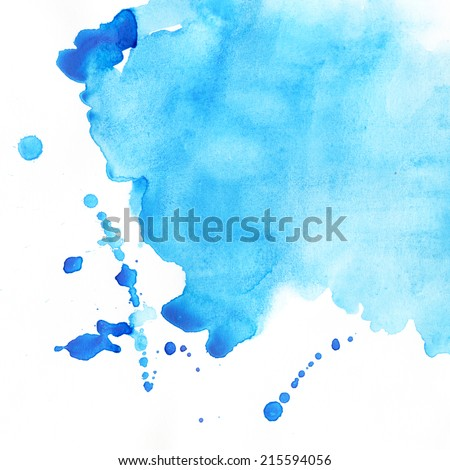 Abstract blue watercolor blot background. Aquarelle texture. - stock photo