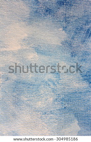 Abstract Blue Watercolor on Canvas 8 - stock photo