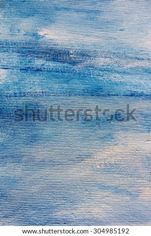 Abstract Blue Watercolor on Canvas 2 - stock photo