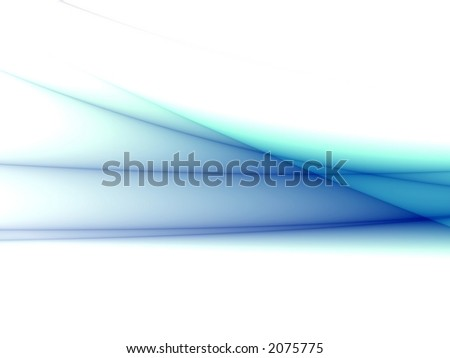 Abstract blue waves isolated on white - stock photo