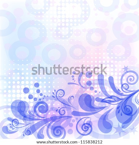Abstract blue, white and pink background with symbolical floral patterns