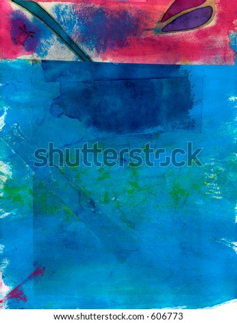 Abstract Blue with Pink Painting. - stock photo
