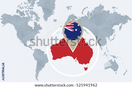World Map Australia New Zealand South Stock Illustration - Australia on the world map