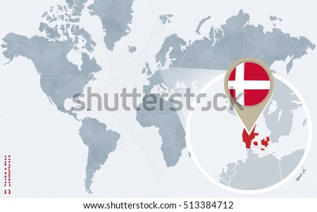 Abstract blue world map magnified denmark stock illustration abstract blue world map with magnified denmark denmark flag and map raster copy gumiabroncs Choice Image