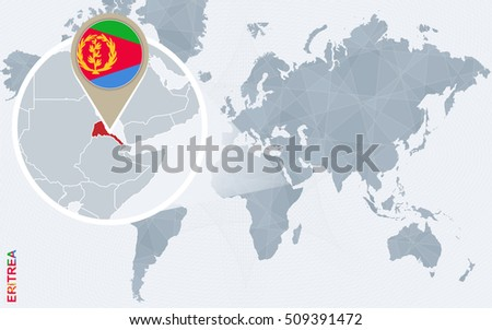 Abstract blue world map with magnified Eritrea. Eritrea flag and map. Raster copy.