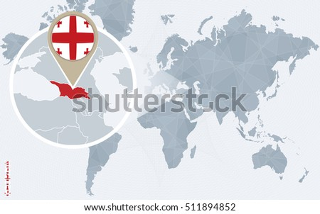 Abstract blue world map magnified georgia stock illustration abstract blue world map with magnified georgia georgia flag and map raster copy gumiabroncs Choice Image
