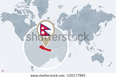 abstract blue world map with magnified nepal nepal flag and map raster copy
