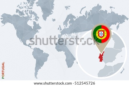 Abstract blue world map with magnified Portugal. Portugal flag and map. Raster copy.