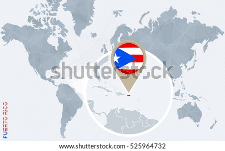 Abstract Blue World Map Magnified Puerto Stock Illustration ...