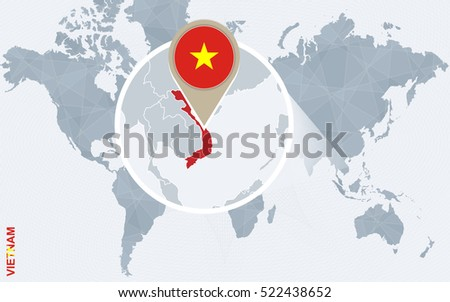 Abstract blue world map with magnified Vietnam. Vietnam flag and map. Raster copy.