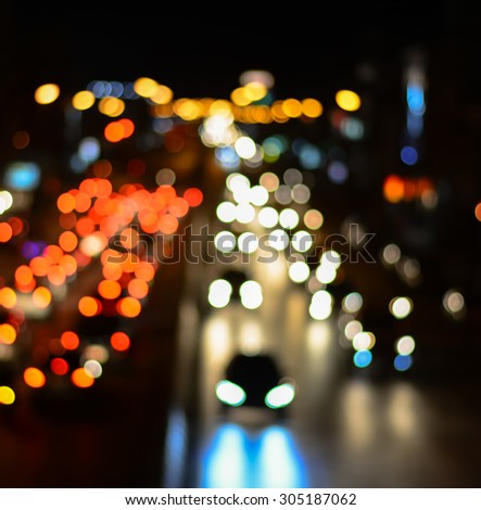 Abstract blur background City Traffic at Night - Soft Focus - stock photo