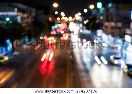 Abstract blur background City Traffic at Night - Soft Focus with Motion Blur - stock photo
