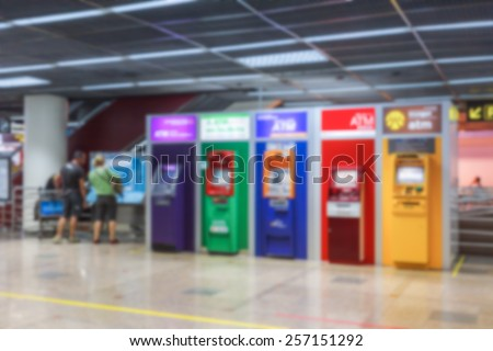 Abstract blur background of ATMs Machine for withdraw or deposit cash money, shallow depth of focus - stock photo