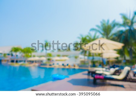 Abstract blur beautiful luxury swimming pool for background