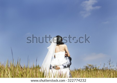 Abstract blur beautiful wedding couple hugging in a field with grass eared. - stock photo