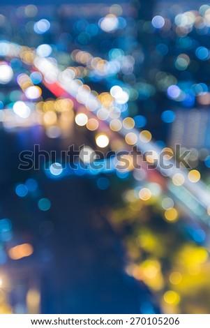 Abstract blur bokeh background of Bangkok main bridge across river - stock photo