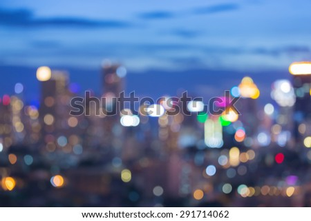 Abstract blur bokeh, city lights at twilight time - stock photo