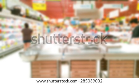 Abstract blur fish in supermarket - stock photo