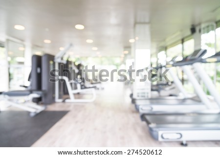 Abstract blur fitness gym background - stock photo