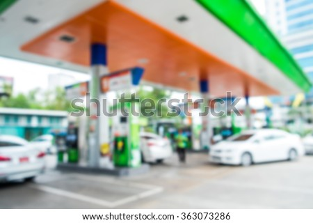 Abstract blur Gas station background - stock photo