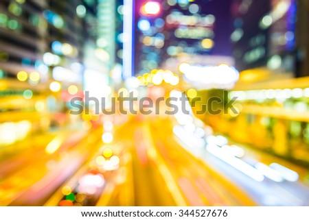 Abstract blur hong kong city background - stock photo