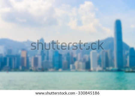 Abstract blur Hong kong skyline city background