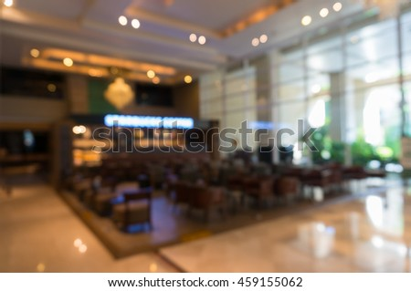Abstract blur hotel lobby and hotel restaurant interior for background
