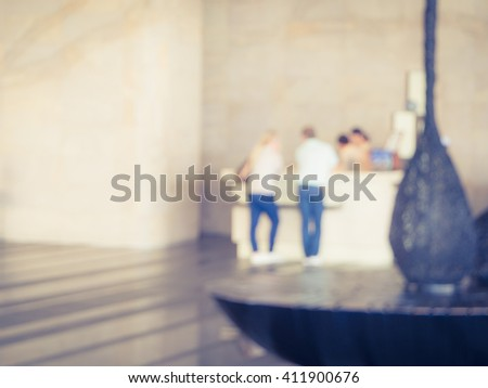 Abstract blur of hotel reception interior  background - stock photo
