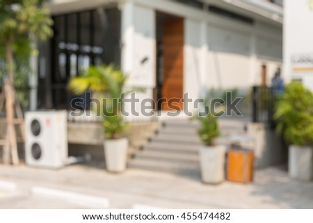abstract blur of outdoor at the office building. - stock photo