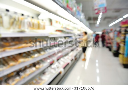 Abstract Blur or Defocus Background of People shopping in Supermarket or Hypermarket - stock photo