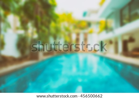 Abstract blur Outdoor swimming pool - Vintage filter